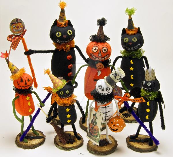 Halloween Folk Art Dolls by The-GoblinQueen