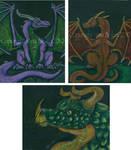 3 Dragon ACEOs