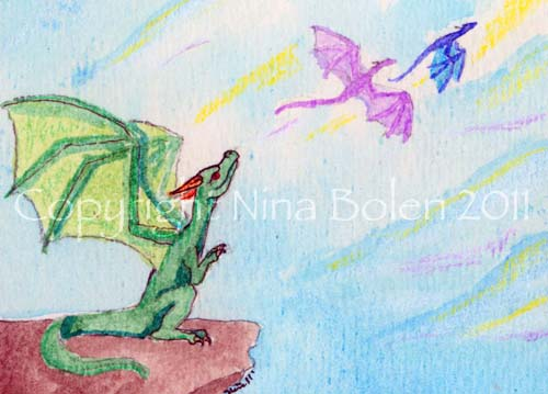 First Flight Dragon ACEO by The-GoblinQueen