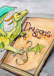 Dragon and Book ACEO