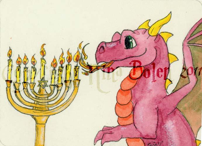 hanukkah dragon ACEO