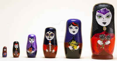 Gothic Style Russinan Nesting Dolls by The-GoblinQueen