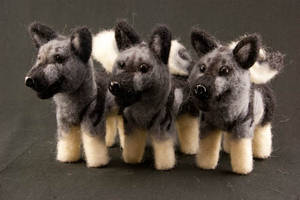 Needle Felted Elkhounds by The-GoblinQueen