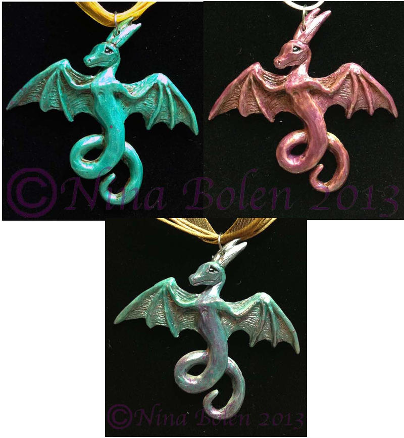 Dragon pendants by The-GoblinQueen
