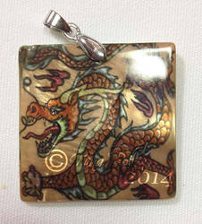 Chinese Dragon Mother of Pearl Pendant