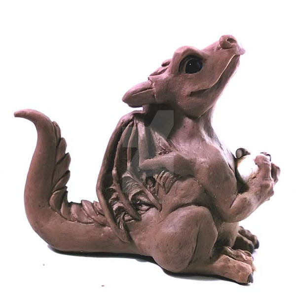 Little Happy Dragon Sculpture by The-GoblinQueen