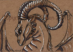Dragon ACEO on toned paper #3