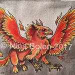 Fire Griffin ACEO by The-GoblinQueen
