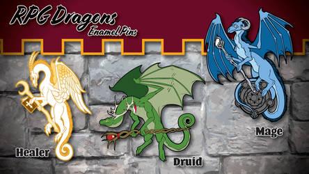 RPG Dragon Enamel Pins by The-GoblinQueen