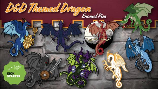DnD Themed Dragon Enamel Pins Banner