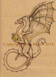 Dragon with gold ball pen and ink