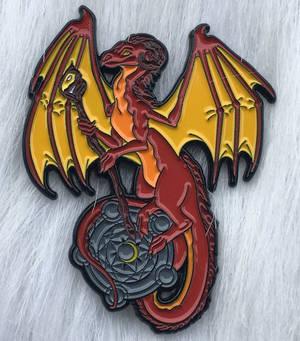 Fire Mage DnD Themed Dragon Enamel Pin
