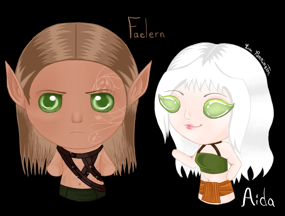 Chibi Faelern and Aida by Icegoddesswolf16