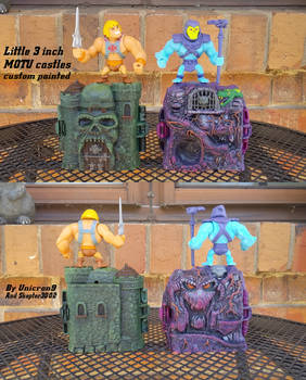 Little 3 inch MOTU castles custom painted