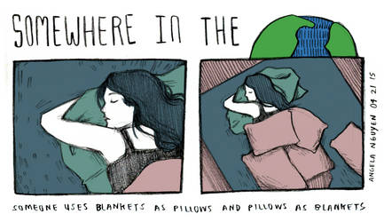 Somewhere in the World: Blankets and Pillows by pikarar