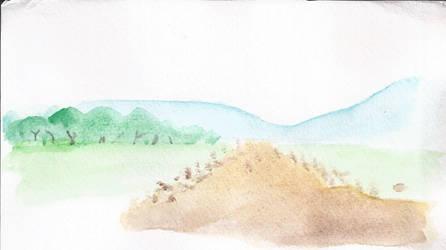 paisaje acuarela by Harapo