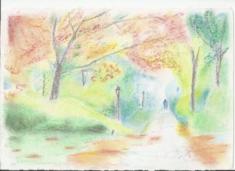 camino en el parque. by Harapo