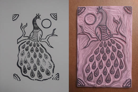 Hand-carved peacock rubber stamp