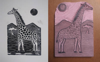Giraffe rubber stamp carving