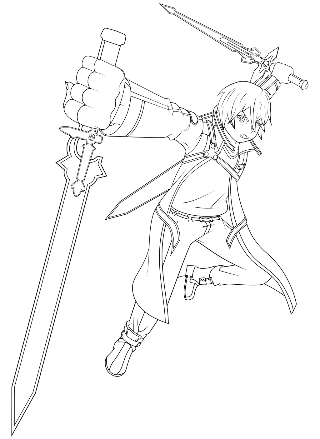 anime girl with swords coloring pages | Kirito - Sword Art Online by Lanky-Nathan on DeviantArt