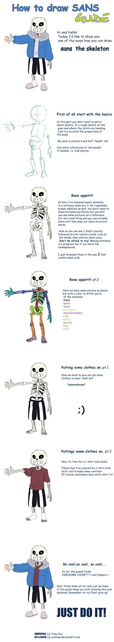 Undertale - How To Draw Sans - Guide by uzikowa