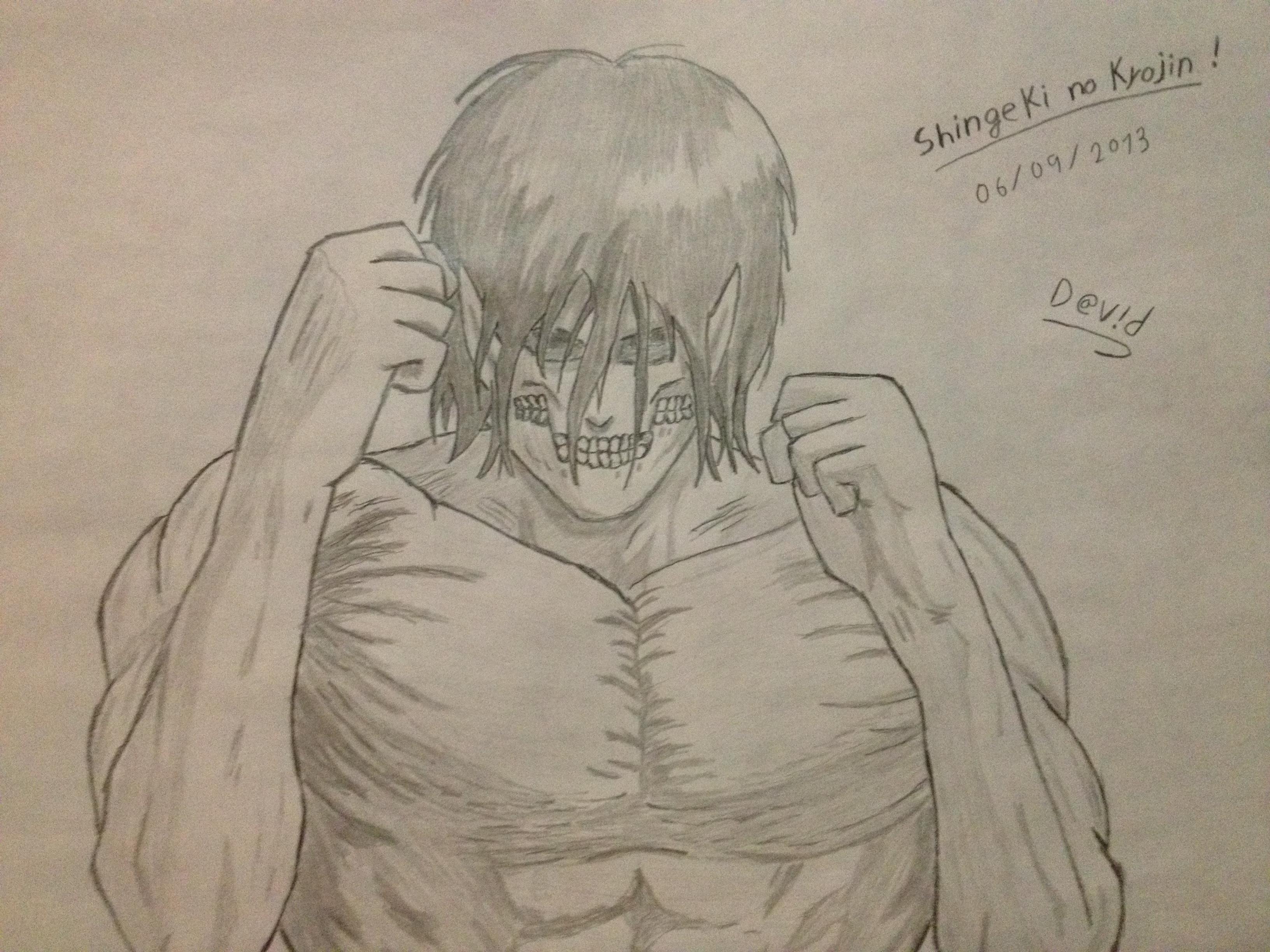 Dibujo A Grafito Eren Titan Shingeki No Kyojin By Ezagui123 On