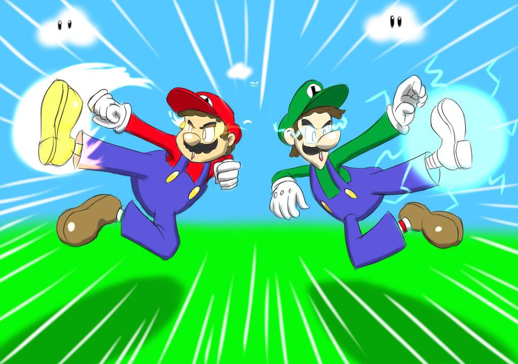 +For John+ Mario and Luigi -Kick Bros- by Django90