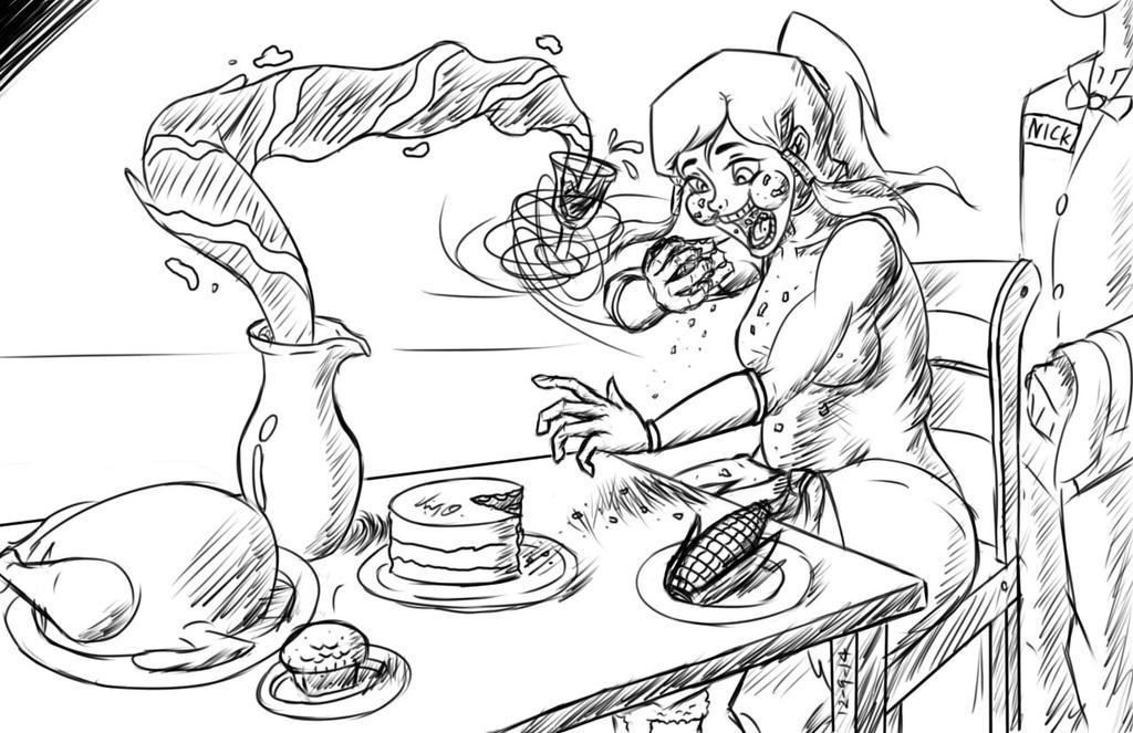 Feeding Korra -Line Art- by Django90
