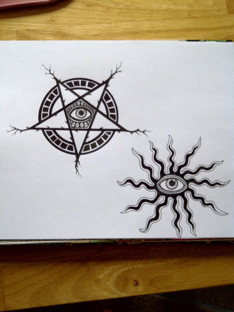 inverted pentagram eye tattoo by kisses of night on deviantart. Black Bedroom Furniture Sets. Home Design Ideas