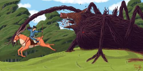Ashitaka and the Boar Demon by Draethius