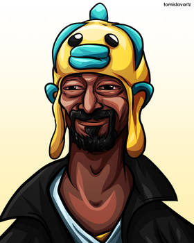 Snoop Dogg wearing a Fish on his Head