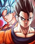Kaioken SSB Goku and Ultimate Gohan