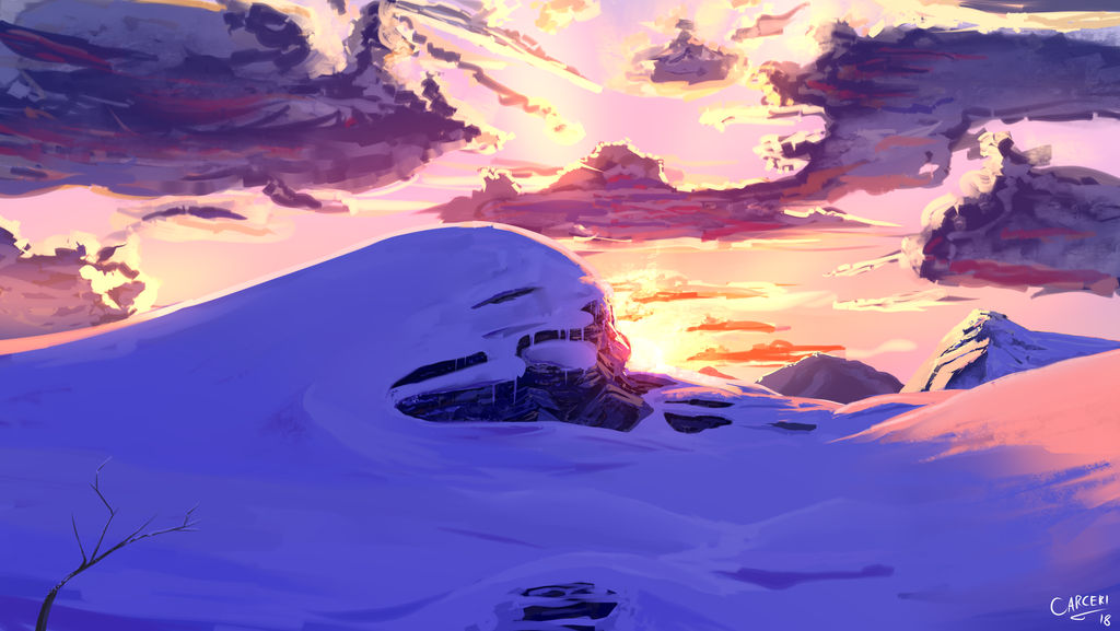 Speed Painting: Snowy Hill