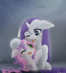Rarity and Sweetie Belle Rain