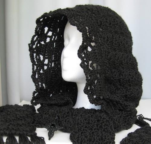 Goth Hoodie Scarf by doilydeas