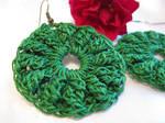 Small High Texture Crochet Earrings in Green