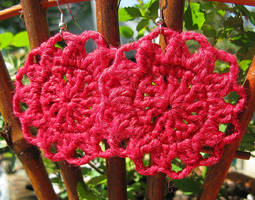 Red Metallic Flower Crochet Earrings in Bamboo by doilydeas