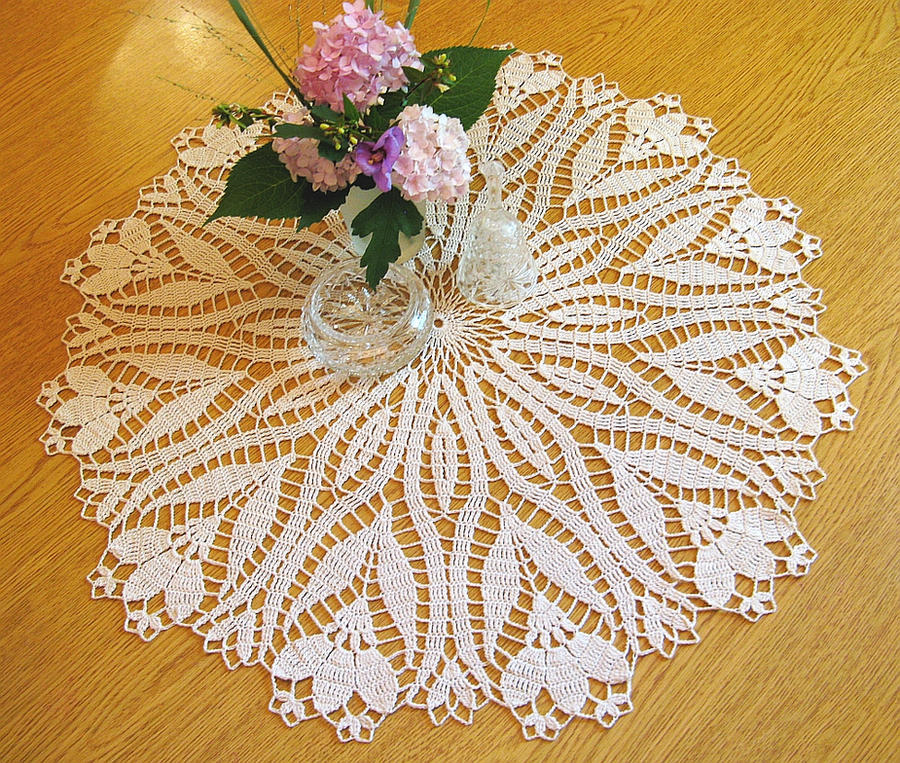 Crochet Crocus Pattern Doily, Table Topper, 24 1/2 by ...