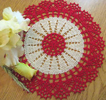 Red and Beige Crochet Doily, 10 Inch, No. 100 by doilydeas