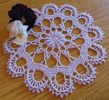 Wide Petal Flower Doily in Pale Lilac by doilydeas