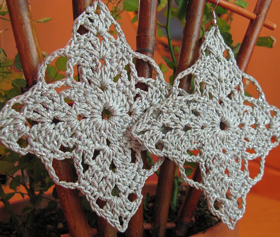 Large, Lacy Crochet Silver Celtic Cross Earrings by doilydeas