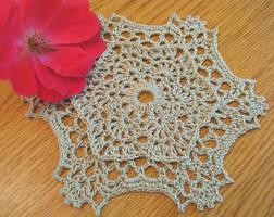 Small Elegant Crochet Doily in Light Green, No. 81 by doilydeas