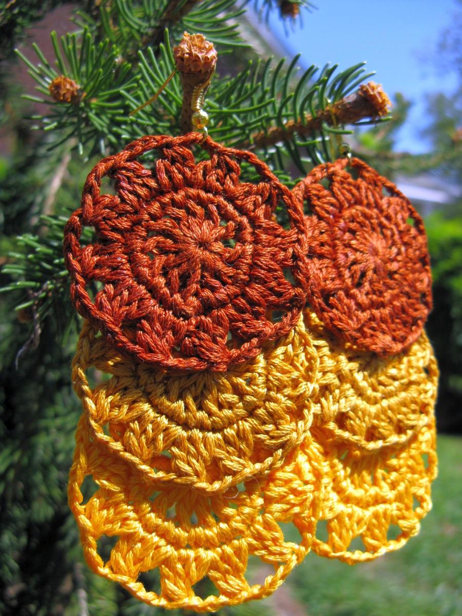 Flower crochet earrings in embroidery thread by