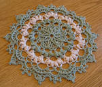 7 3/4 Inch High Texture Sage and Beige Doily