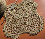 Square Rounded Corner Doily in Hand Dyed Khaki