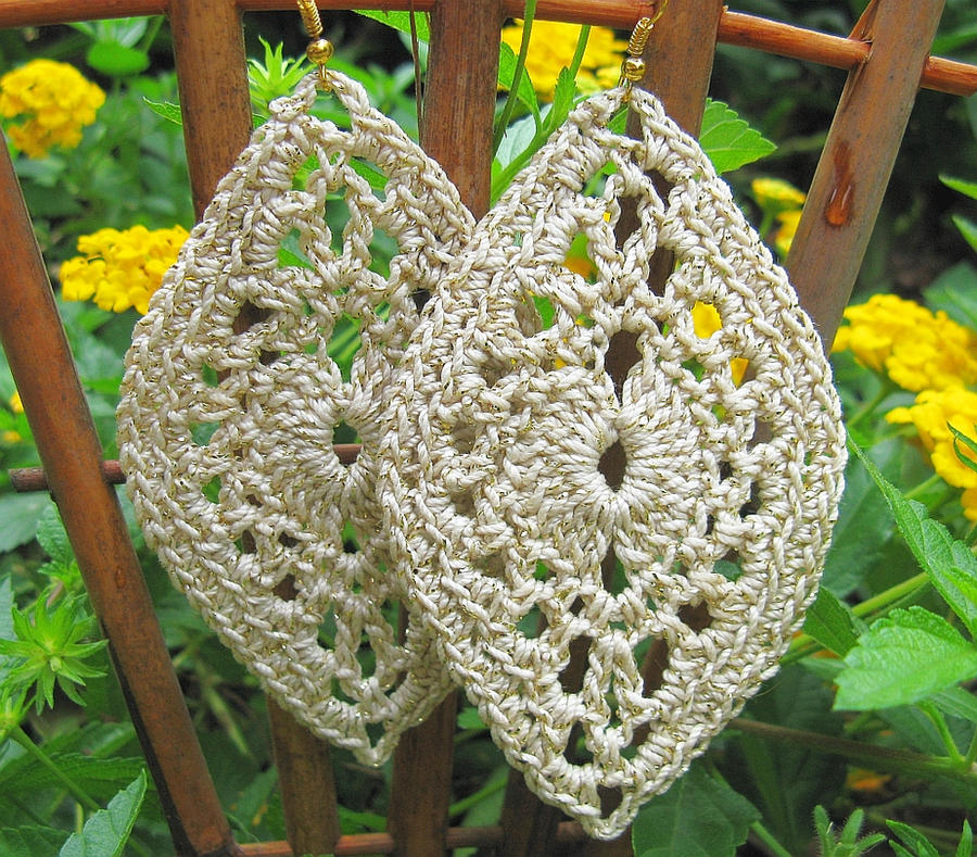 Large, Lacy Oval Dangling Crochet Earrings by doilydeas