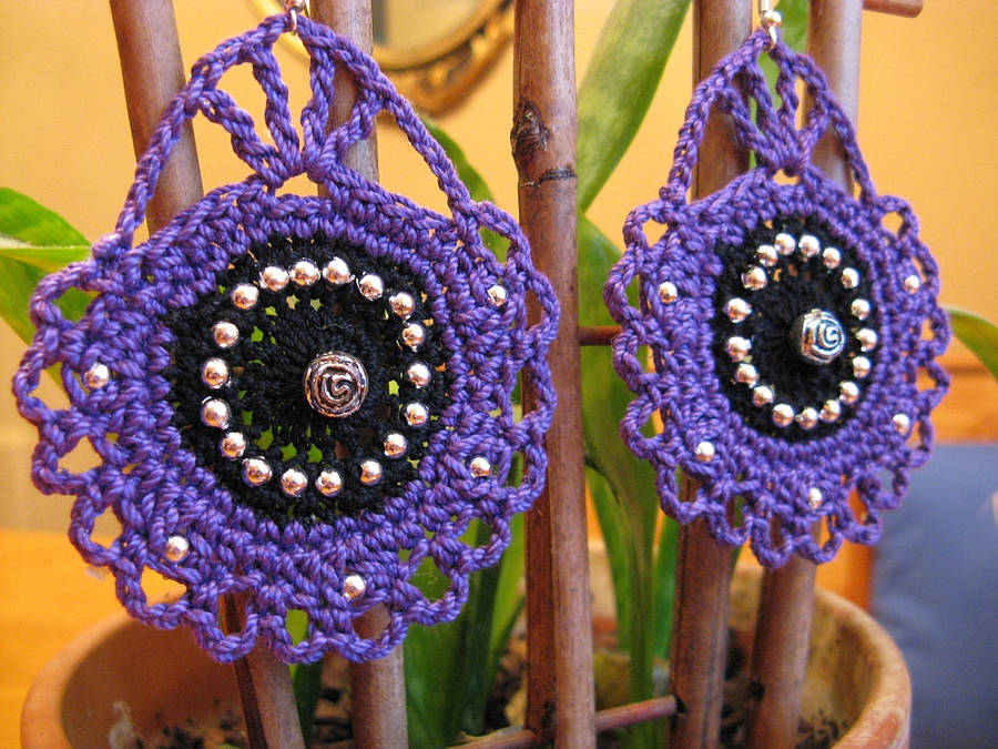 Cameo Inspired Crochet Earrings in Purple, Black by doilydeas