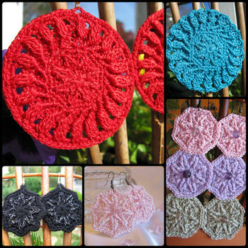 Crochet Earring Pattern, Large, Raised Stitch by doilydeas