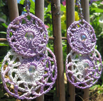 Crochet Earrings, pattern 2, shaded purples by doilydeas