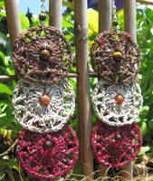 Crochet Earrings, pattern 2, silk tweed tagalong by doilydeas
